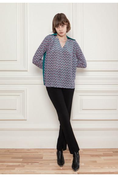 Шелковая блуза с геометрическим принтом Бьерта