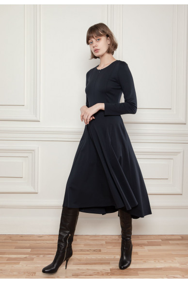Трикотажное платье с расклешенной юбкой Кальяри