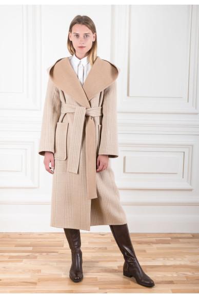 Пальто на запах из двустороннего кашемира