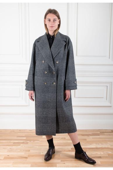 Пальто оверсайз из шерсти с кашемиром
