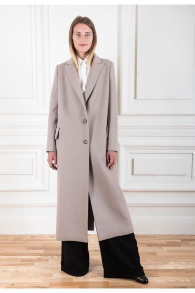 Однобортное пальто из шерсти ягненка с кашемиром