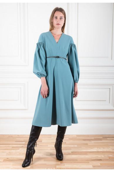 Платье миди из шерстяного крепа