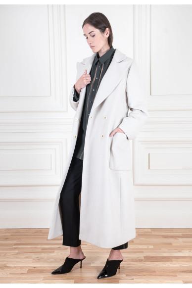 Длинное пальто из шерсти ягненка с кашемиром