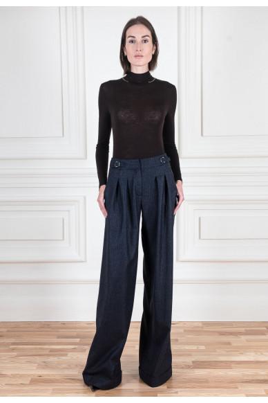 Широкие брюки из фланели с лампасами