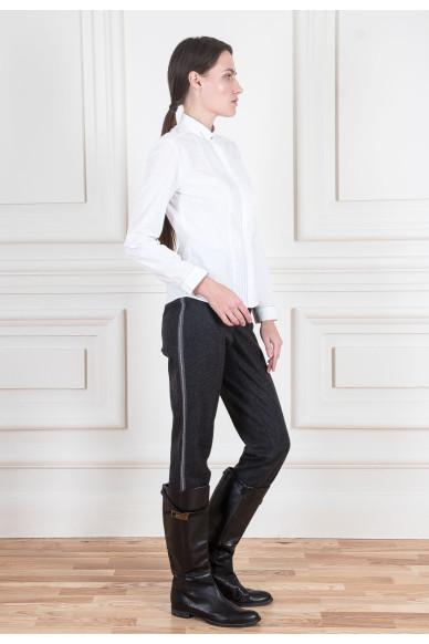 Зауженные брюки из шерстяной фланели со стрейчем