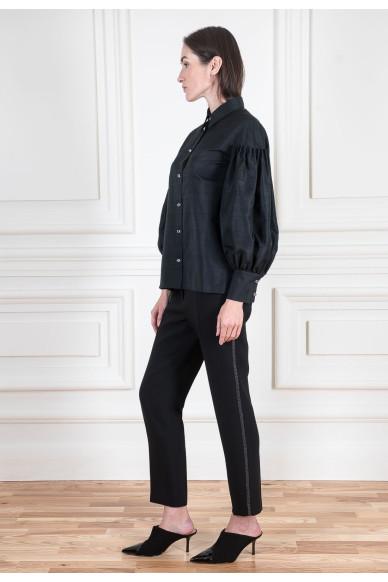 Зауженные брюки из шерстяного крепа со стрейчем