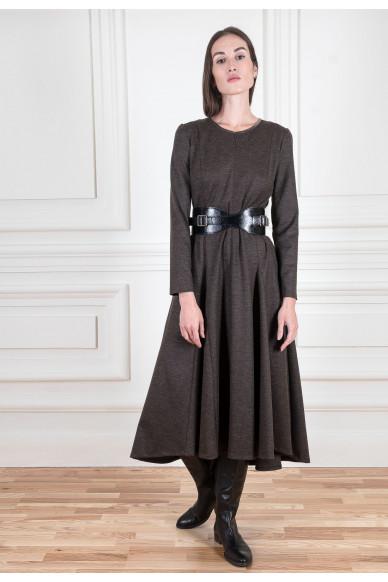 Шерстяное платье миди с широкой юбкой