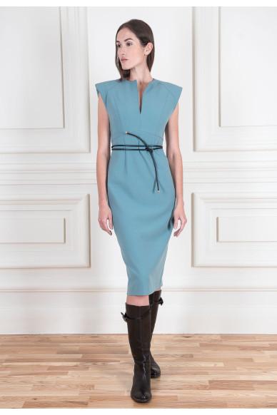 Сукня з плечовими накладками з подвійного вовняного крепу