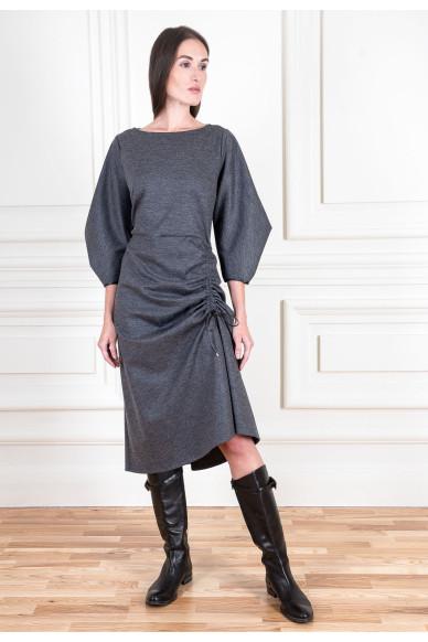 Вовняна сукня міді з гротескним рукавом