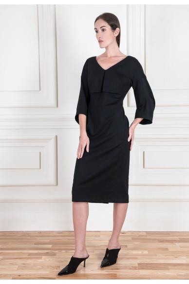 Платье с объемным рукавом из тонкой шерсти