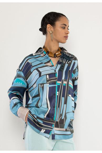 Curvy silk printed shirt