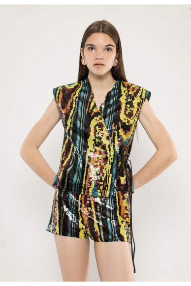 Main sequined stretch-jersey vest