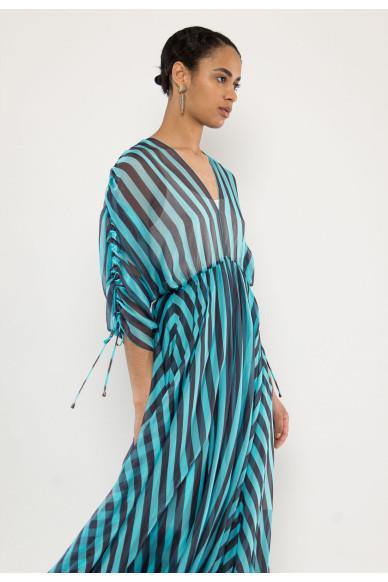 Weila silk-shiffon striped dress