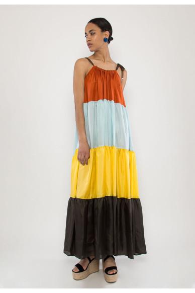 Mallorca silk color-blocked dress
