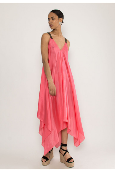 Curvy silk sleeveless dress