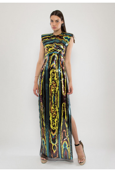 Main sequined stretch-jersey evening dress