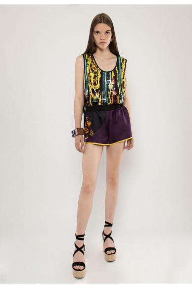 Heidi silk printed shorts