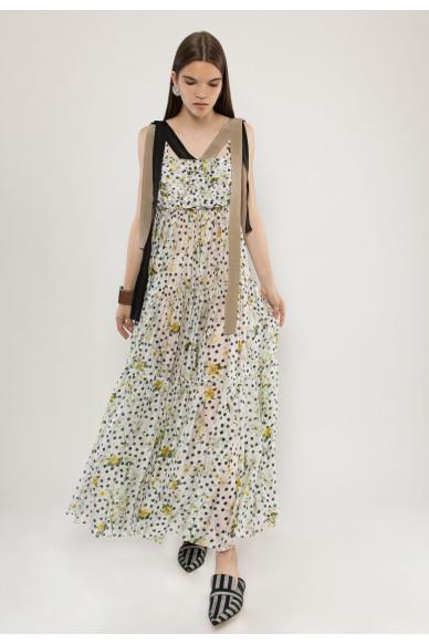 Mercury sleeveless silk shiffon maxi dress