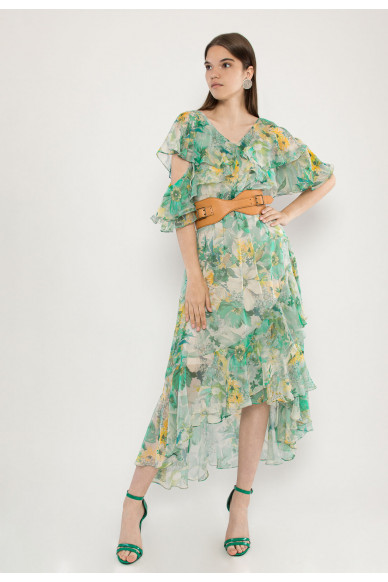 Endy ruffled silk-shiffon midi dress