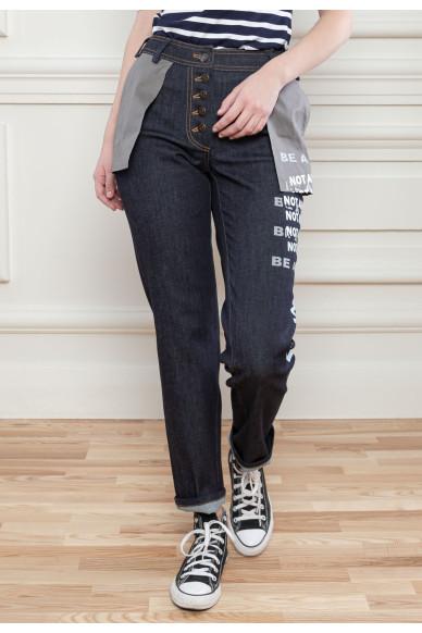 Прямые джинсы с принтом Хьюго