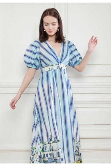 Длинное платье с акварельным принтом Алана