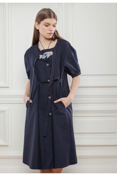 Платье из поплина с завязками Сигурни
