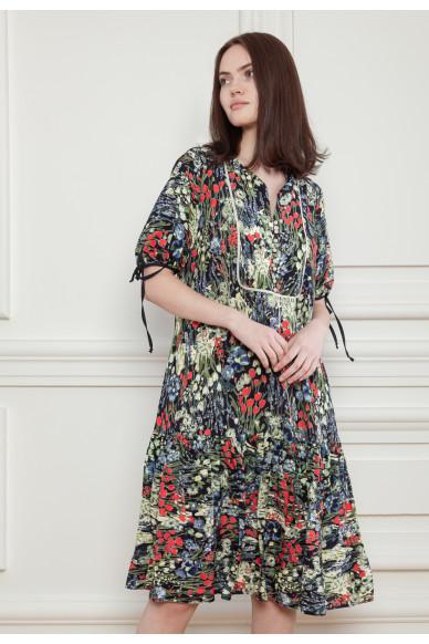 Платье с цветочным принтом и оборкой Этель
