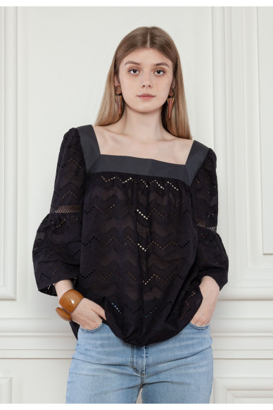 Кружевная блуза с объемными рукавами Гвендолин
