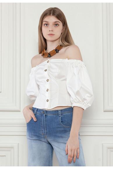 Корсетная блуза с пышными рукавами Ксавье