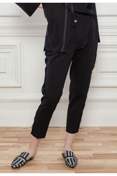 Льняные брюки с защипами Барнеби