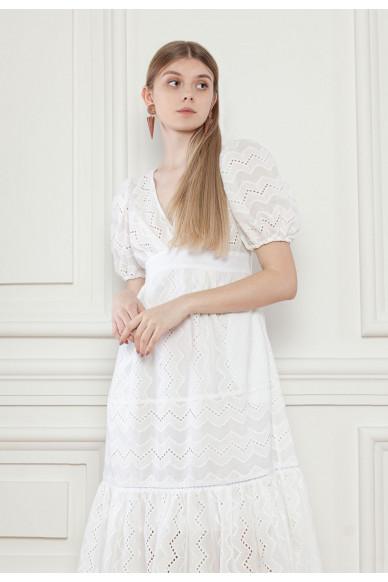 Кружевное платье с пышными рукавами Аделина