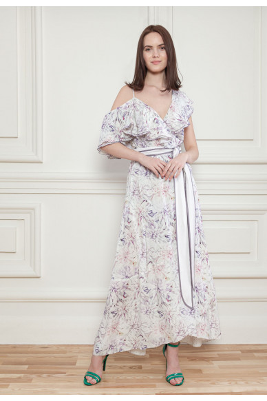 Ніжна шовкова сукня з пастельним квітковим принтом Нуар