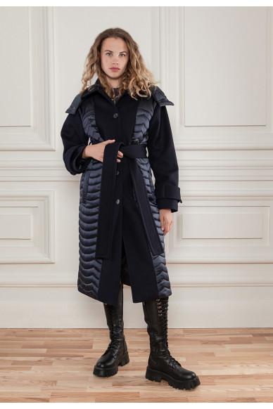 Комбинированное стеганное пальто Ферн