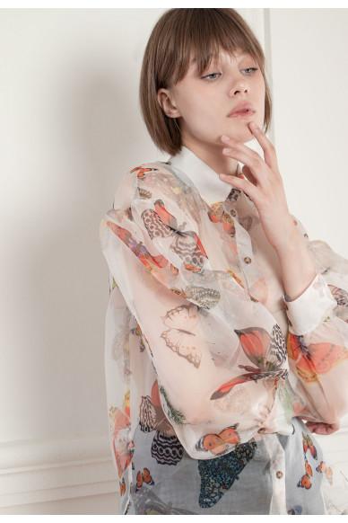 Шелковая блуза с пышными рукавами Манхеттен