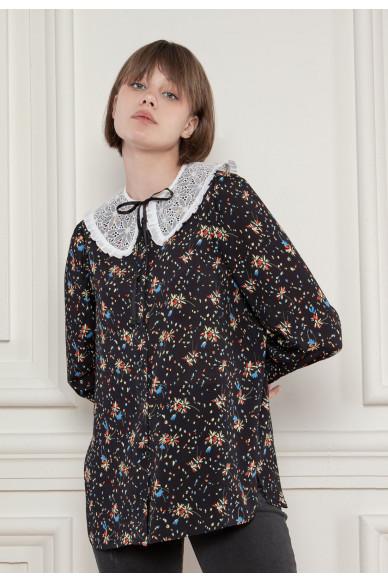 Блуза со съемным кружевным воротником Селина
