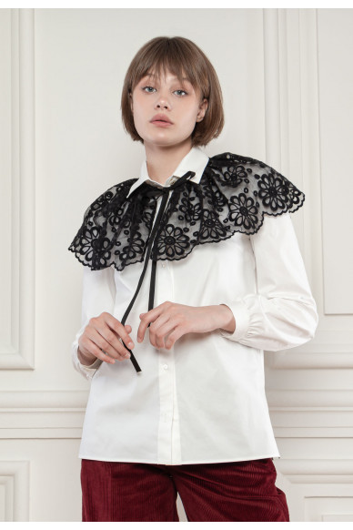 Коттоновая рубашка со съемным кружевным воротнико Соната