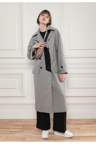 Шерстяное пальто с контрастной вставкой Хадсон