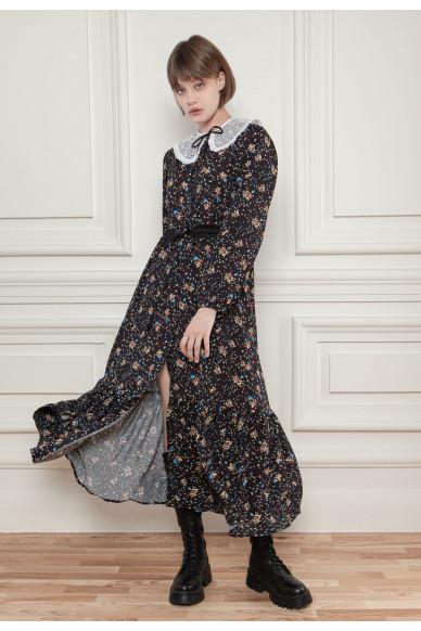 Сукня-сорочка зі знімним мереживним воротом Селіна