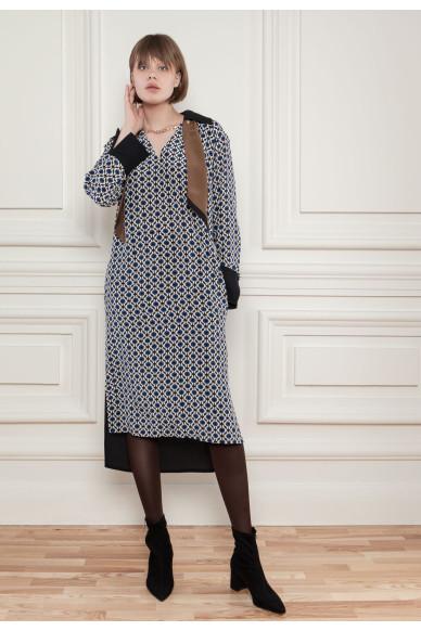 Шелковое платье с геометрическим принтом Бьерта