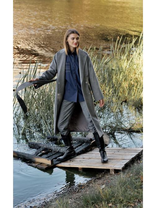 Пальто-халат из шерстяной ткани, Рубашка оверсайз, Фланелевые брюки