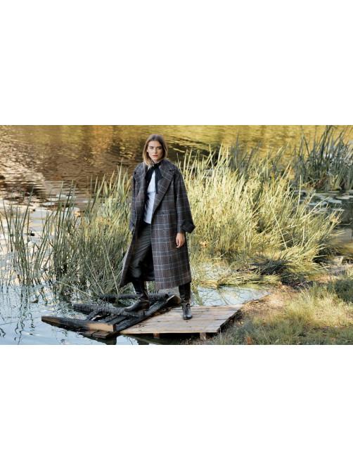 Пальто из смесовой шерстяной ткани,  Рубашка с бантом, Фланелевые брюки