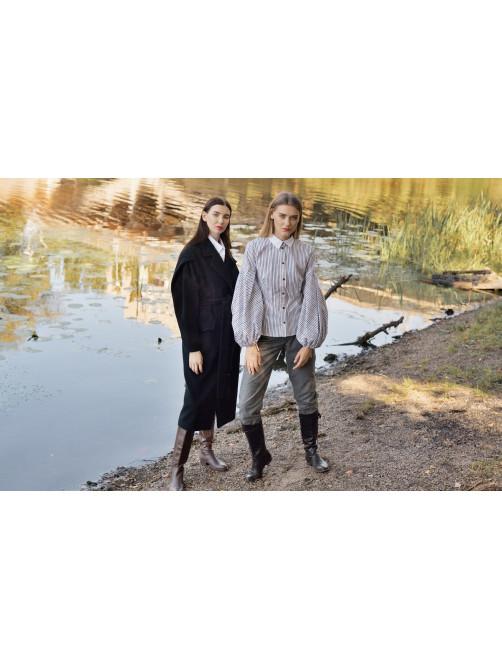 Фланелевые брюки, Хлопковая рубашка, Пальто из смесовой шерстяной ткани