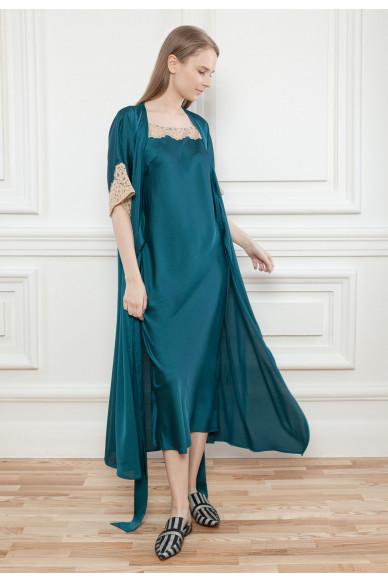 Длинный атласный халат Maura