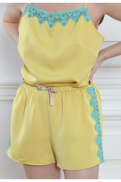 Атласные шорты с кружевом Tiffani