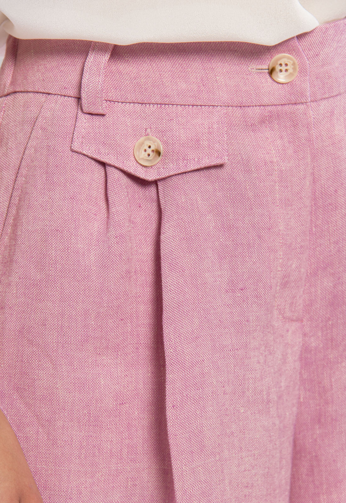 Beatrice pleated linen shorts